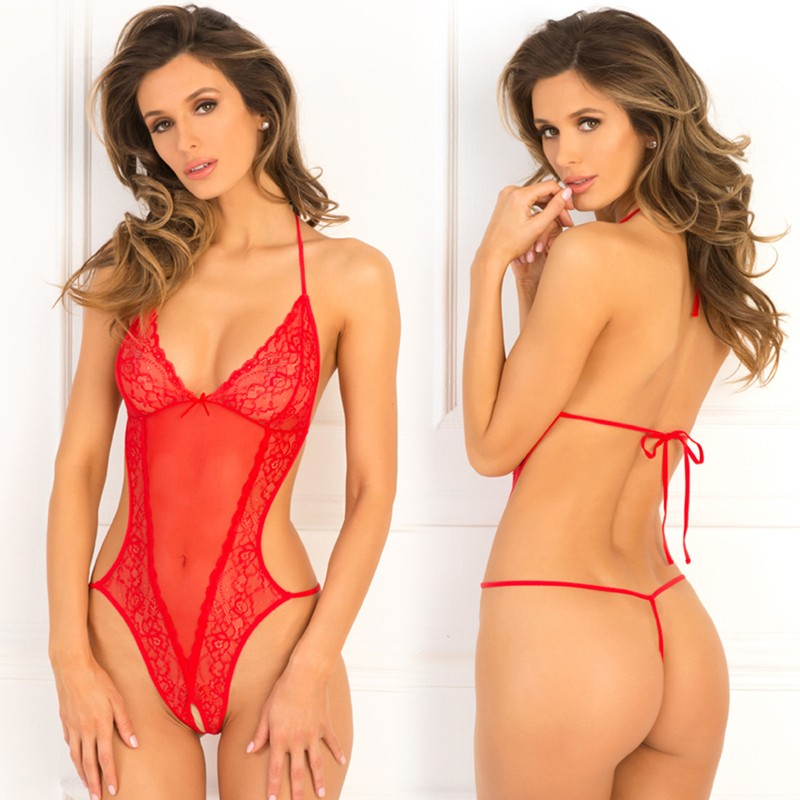 Crotchless Lace & Mesh Teddy Red M/L