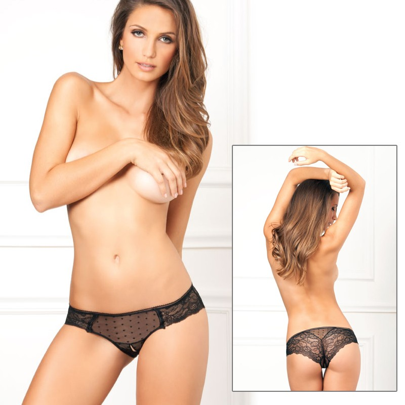 Crotchless Lace N Dots Panty Black S/M