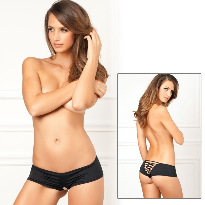 Crotchless Lace Up Back Panty Black M/L