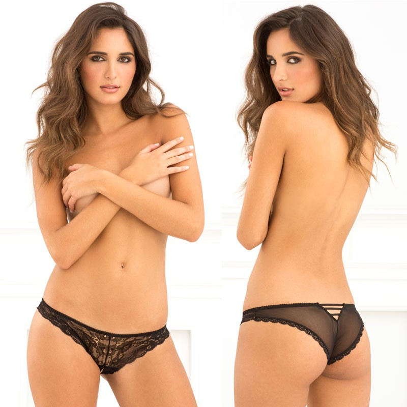 Crotchless Lace V-Back Panty Black M/L