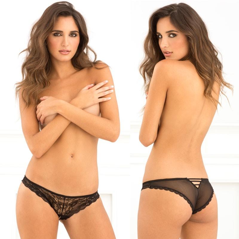 Crotchless Lace V-Back Panty Black S/M