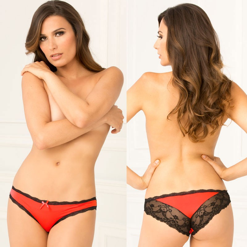 Crotchless Lace V-Back Panty Red S/M