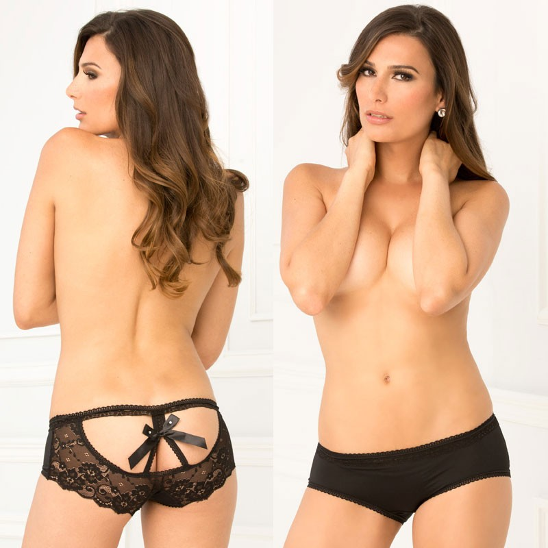 Crotchless Open Back Lace Panty Black S/M