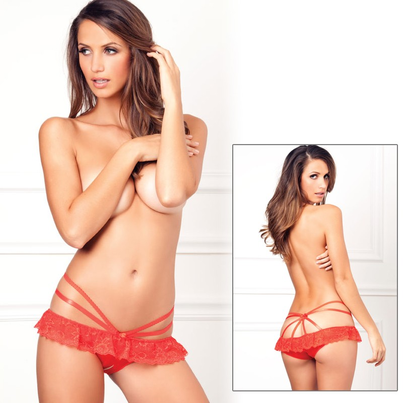 Crotchless Strapped Up Lace Panty Red S/M