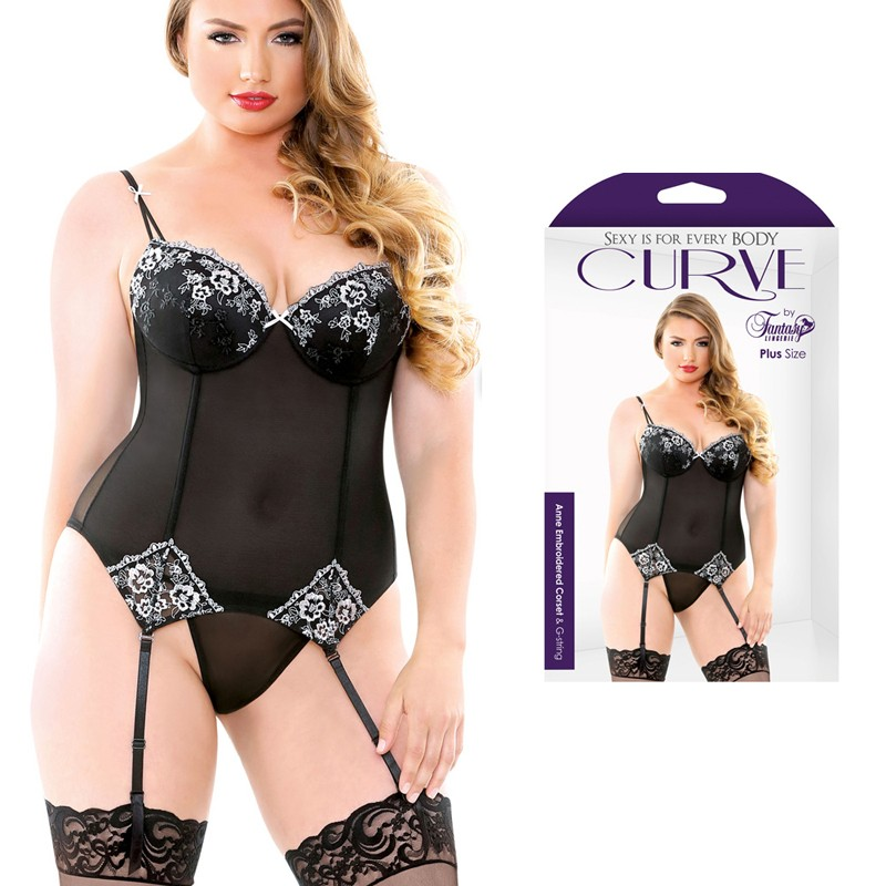 Curve Anne Embroidered Corset & G-String Black 3X/4X