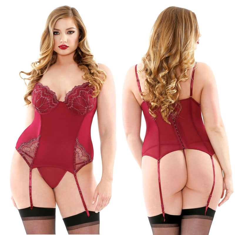 Curve Bustier with Metallic Embroidery Detachable Garters & Matching G-String Burgundy 3X/4X