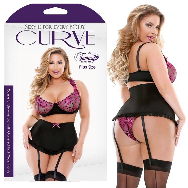 Curve Cassie Underwire Bra With Gartered High Waist Panty Pink/Black 1X/2X