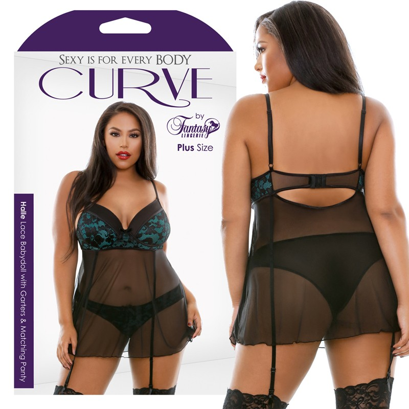 Curve Halle Lace Babydoll With Garters & Matching Panty Emerald/Black 1X/2X