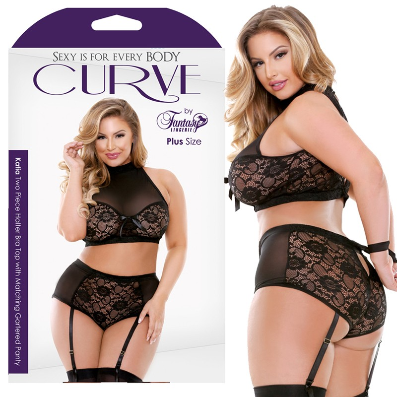 Curve Katia Two Piece Halter Bra Top With Matching Gartered Panty Black 1X/2X