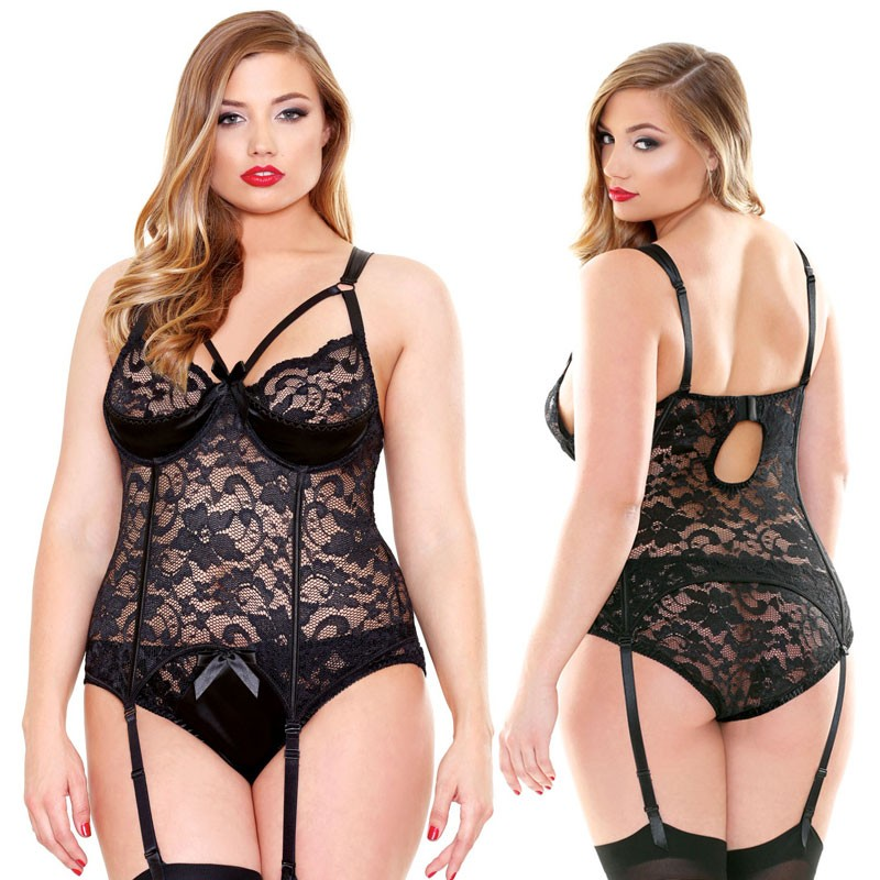 Curve Lace and Satin Bustier with Detachable Garters & Matching Panty Black 1X/2X