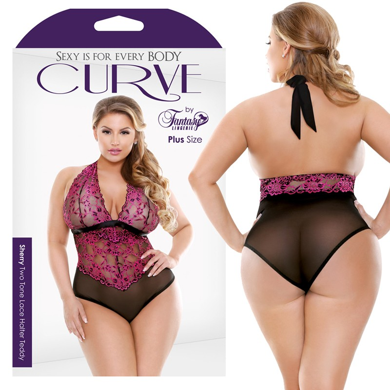 Curve Sherry Two Tone Lace Halter Teddy Pink/Black 1X/2X