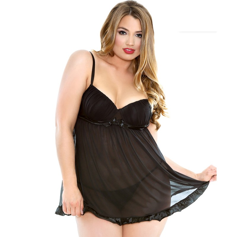 Curve Shirred Cup Babydoll With Matching G-String Black 1X/2X