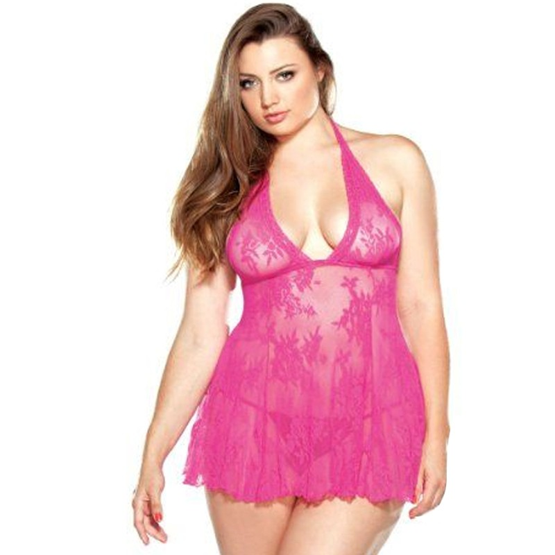 Curve Stretch Lace Chemise & Matching G-String Pink 1X/2X