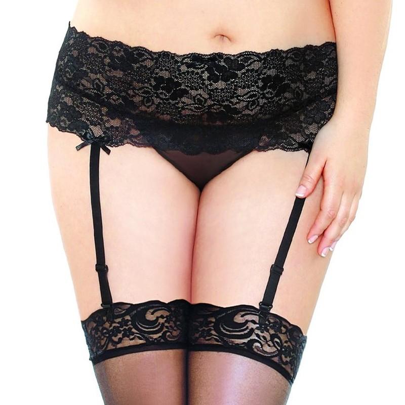 Curve Stretch Lace Garter Belt & Thigh High Stocking Set Black 1X/2X