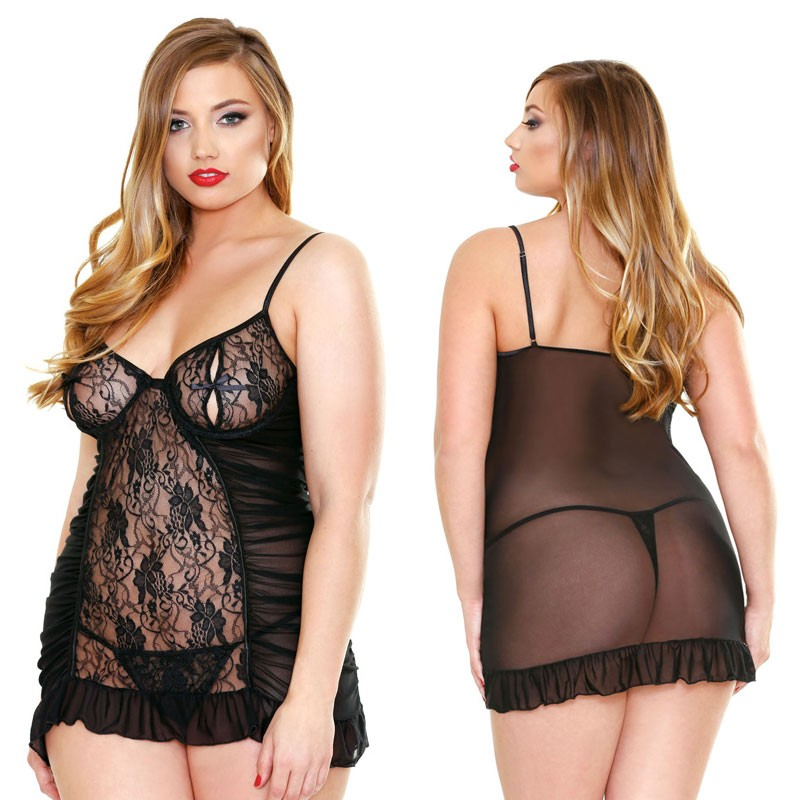 Curve Underwire Chemise & Matching Thong 3X/4X