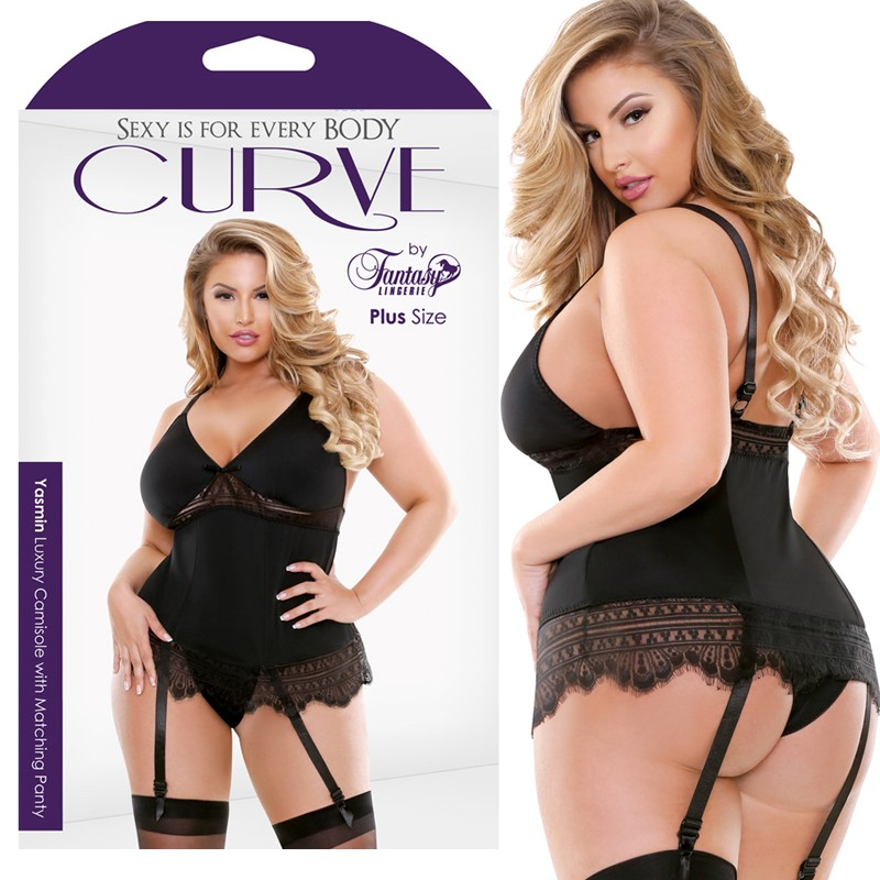 Curve Yasmin Luxury Camisole With Matching Panty Black 1X/2X