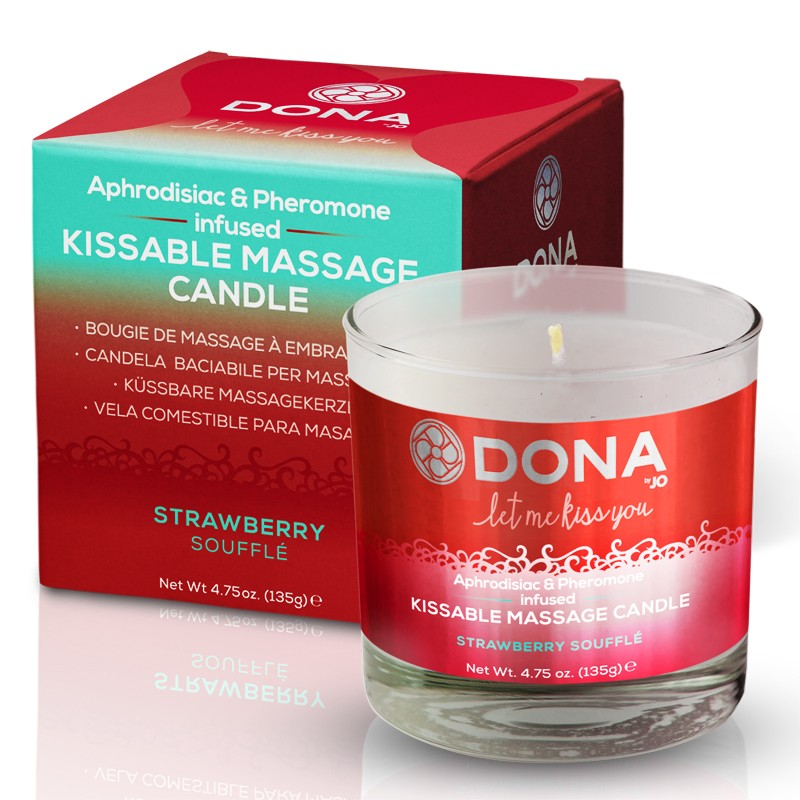 DONA Kissable Massage Candle Strawberry Soufflé 7.5oz