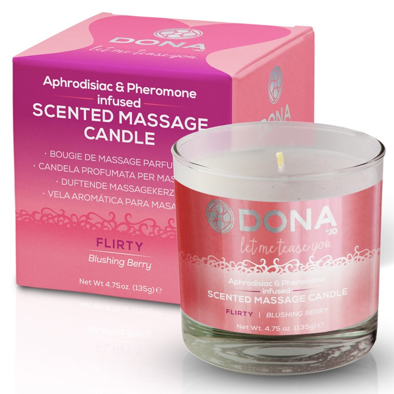 DONA Scented Massage Candle Flirty Aroma: Blushing Berry 4.75oz