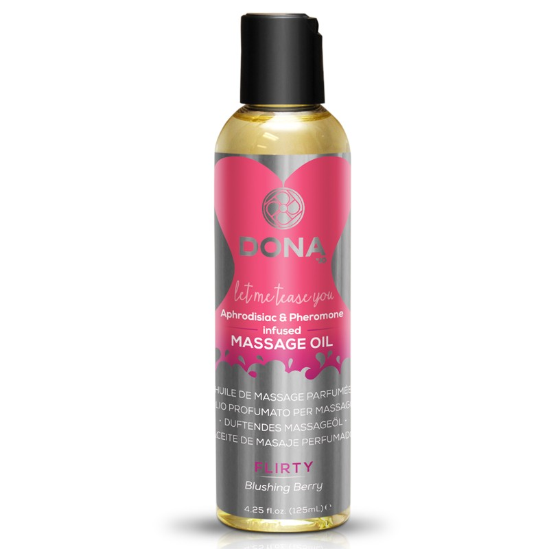 DONA Scented Massage Oil Flirty Aroma: Blushing Berry 4oz
