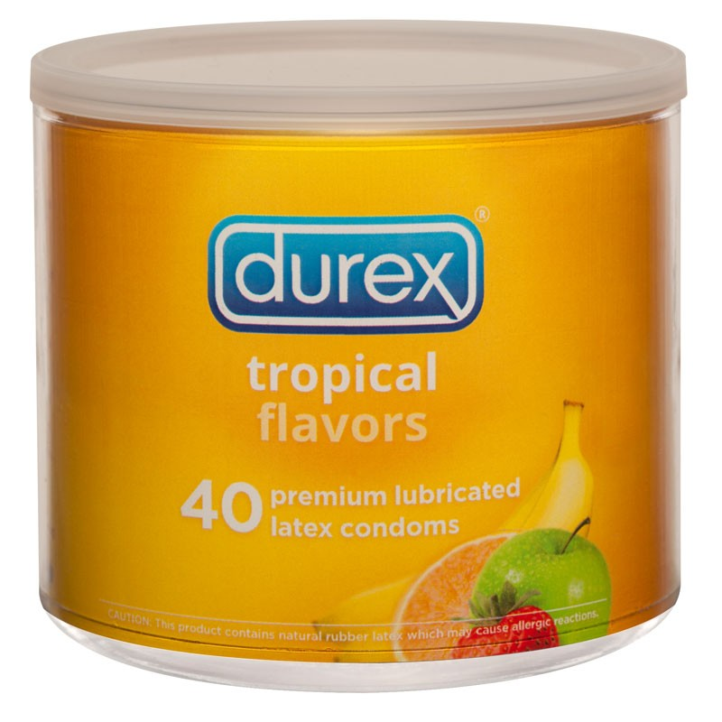 Durex Tropical Flavors Latex Condoms (Jar of 40)