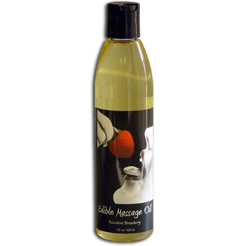 Earthly Body Edible Massage Oil Succulent Strawberry 8oz