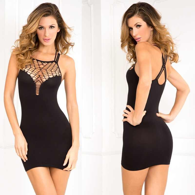 Exotic Plunge Seamless Dress Black S/M