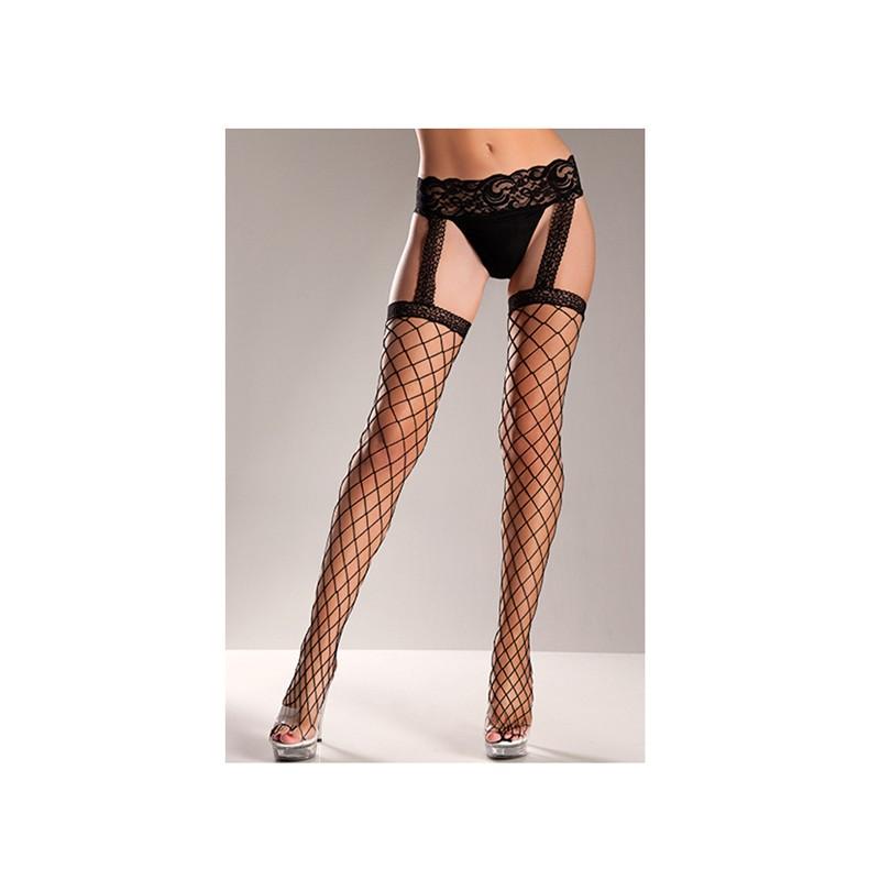 Fence Net Stockings W/Lace Garter Belt O/S Black