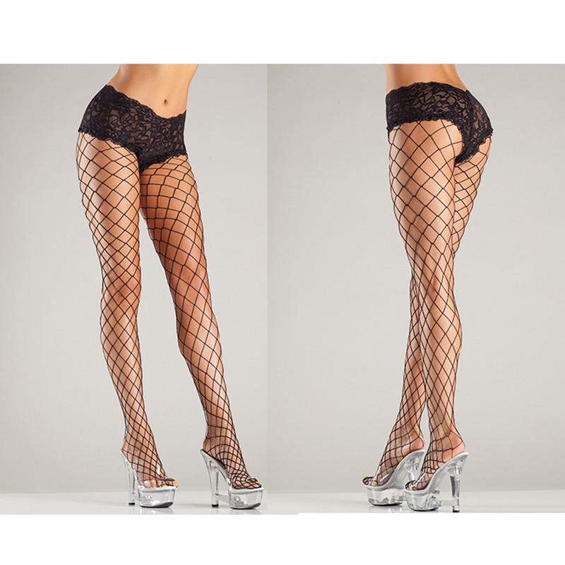 Fence Net Tights W/Lace Boyshorts Top O/S Black