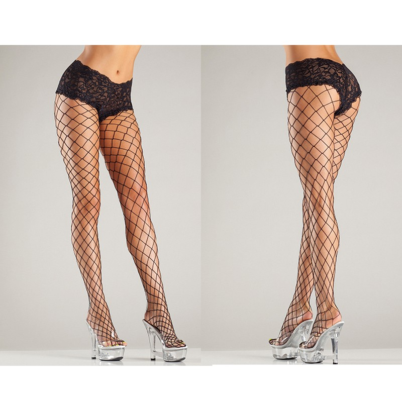Fence Net Tights W/Lace Boyshorts Top Queen Black