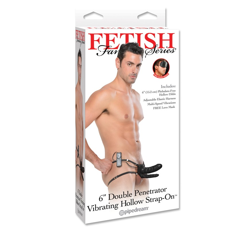 Fetish Fantasy 6in Double Penetrator Vibrating Hollow Strap-On Black