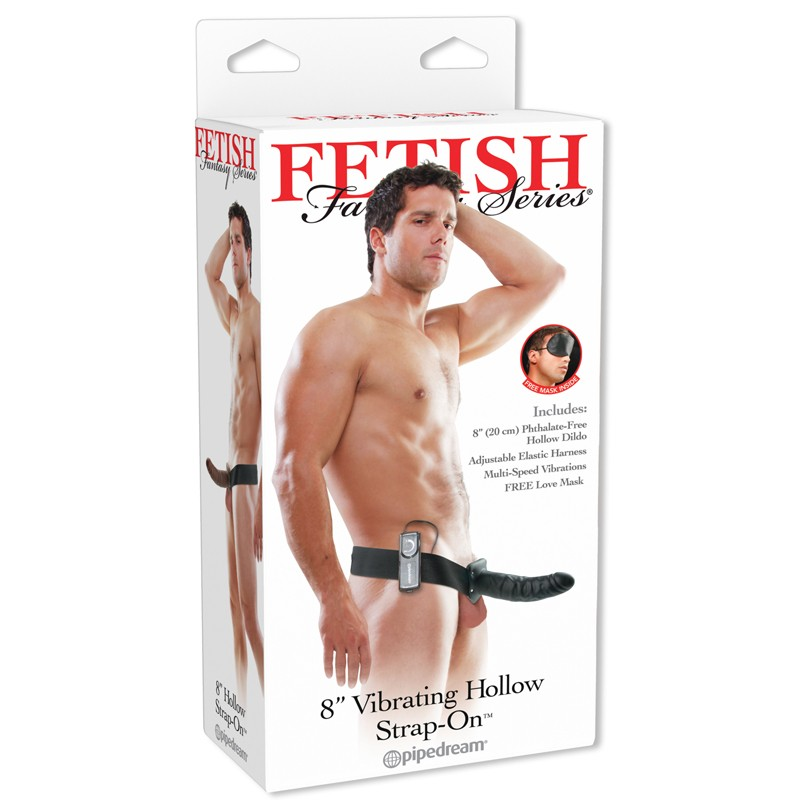 Fetish Fantasy 8in Vibrating Hollow Strap-On Black