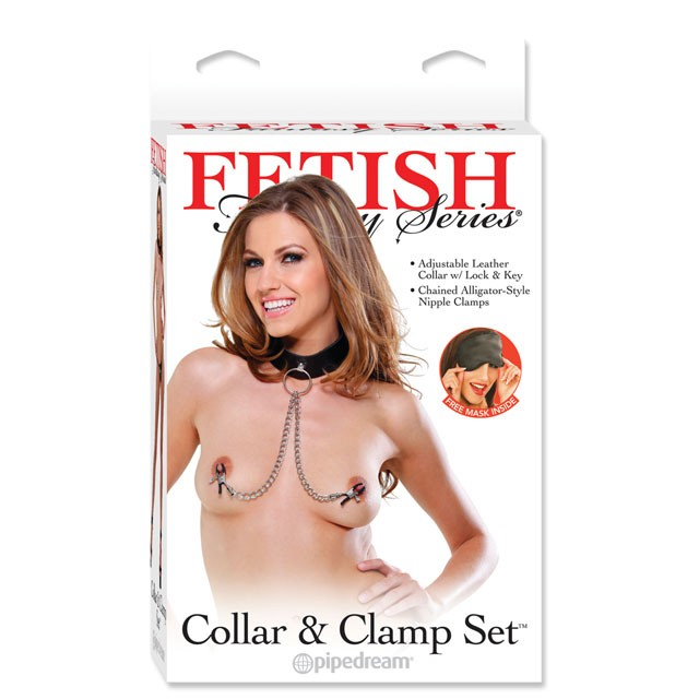 Fetish Fantasy Collar and Clamp Set Black