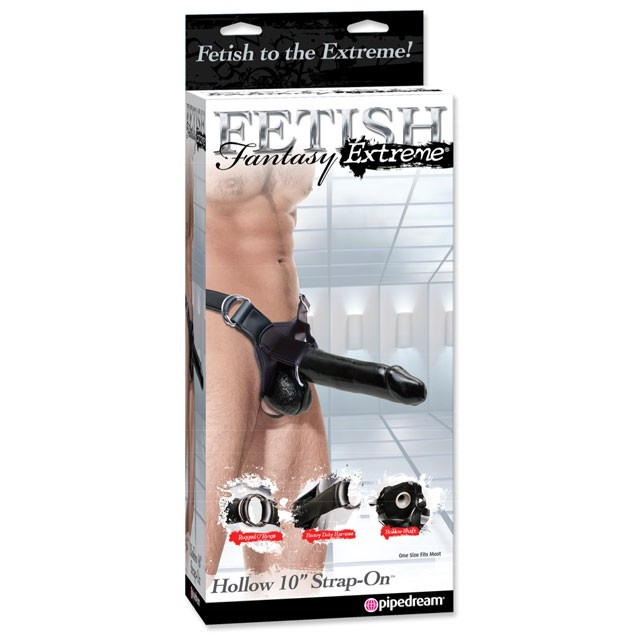 Fetish Fantasy Extreme Hollow 10in Strap-On Black