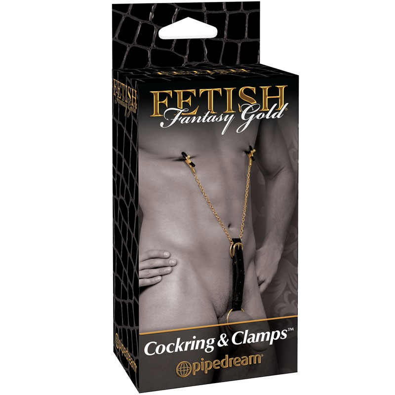 Fetish Fantasy Gold - Cock Ring w/ Nipple Clamps