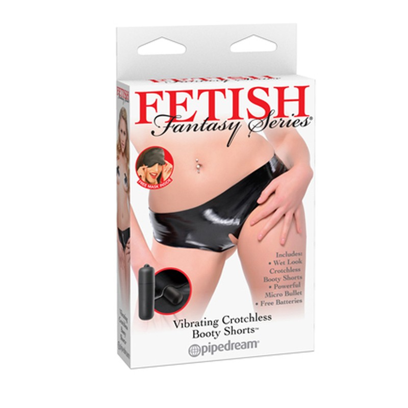 Fetish Fantasy Vibrating Crotchless Booty Shorts