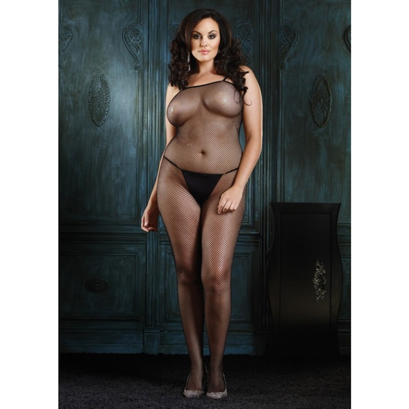 Fishnet Bodystocking Plus Size Black