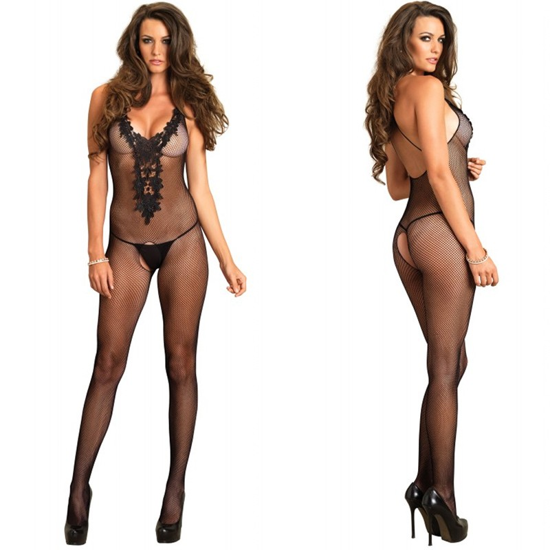 Fishnet Crotchless Bodystocking With Embroidered Appliqué Bodice O/S Black