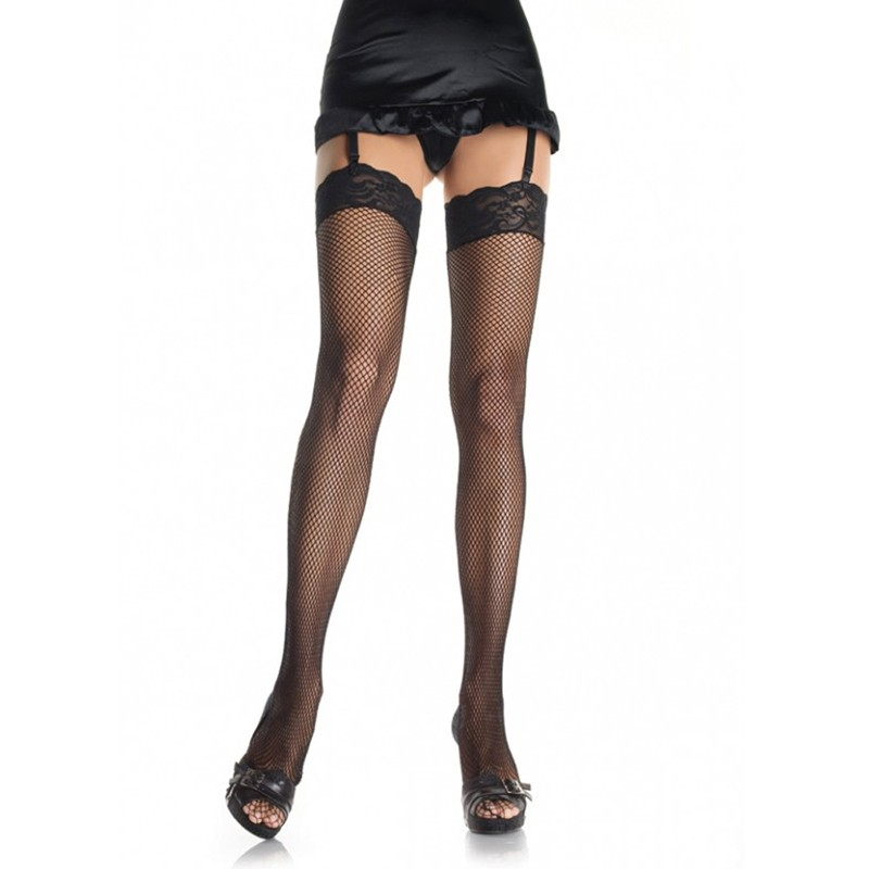 Fishnet Thigh High w/3in Stretch Lace Top O/S Black