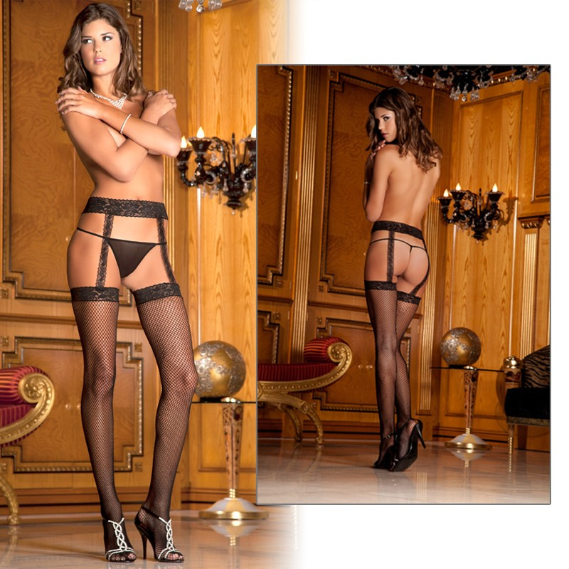 Fishnet Thigh High W/Lace Garter Blk O/S