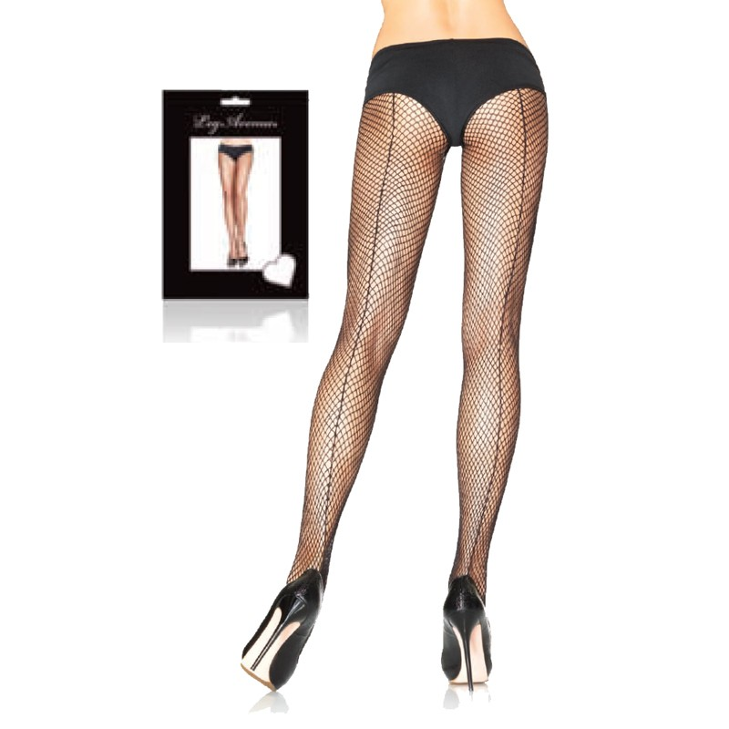Fishnet w/Backseam Pantyhose Plus Size Black