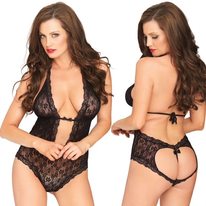 Floral Lace Deep-V Halter Teddy With Heart Shaped Cheeky Cut Out G-String Back Black O/S
