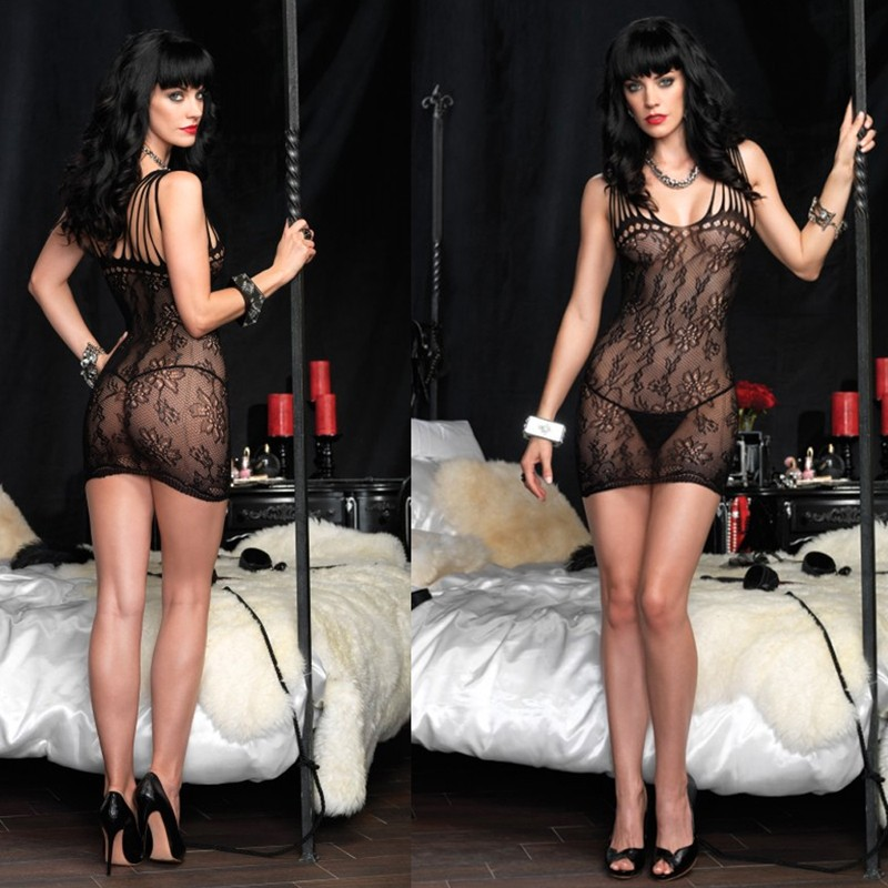 Floral Lace Mini Dress w/Shredded Strap Detail O/S Black