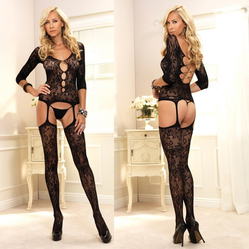 Floral Lace Suspender Bodystocking w/Keyhole Cut-Out O/S Black