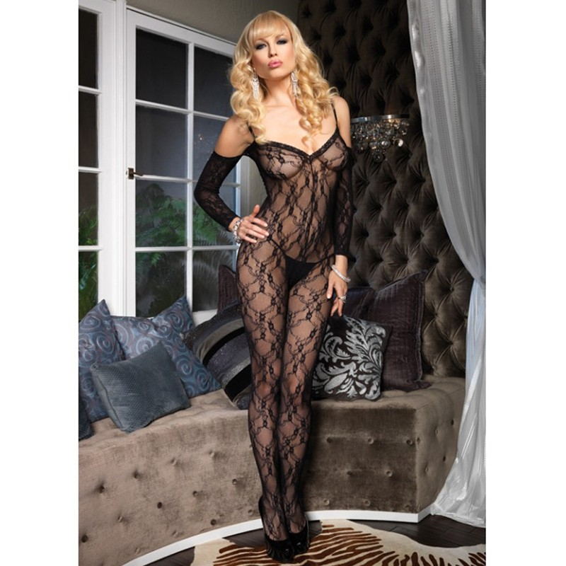 Flower Lace Bodystocking w/Attached Sleeves O/S Black