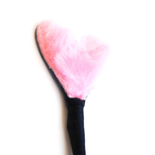 Fluffy Heart Crop (Leather/Pink)