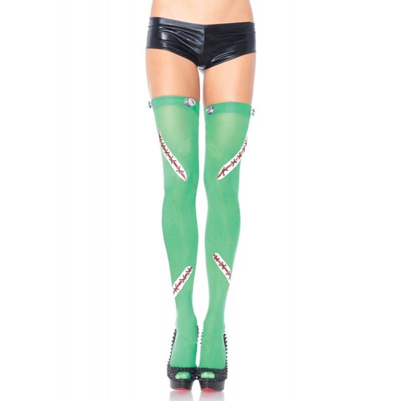 Frankie Opaque Thigh Highs With Latex Stitch And Bolt Detail O/S Green
