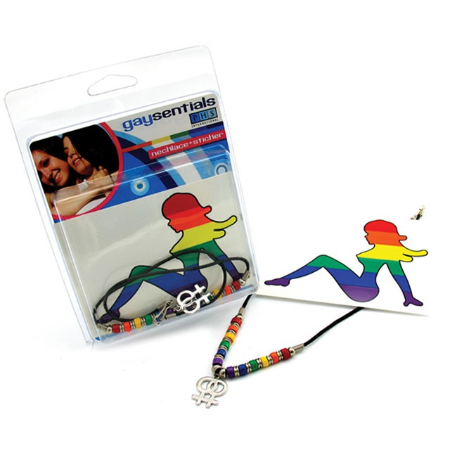 Gaysentials Female Rainbow Necklace/Sticker Combo