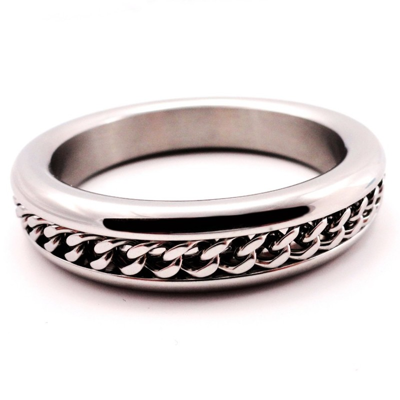 H2H Stainless Steel 1.875in. Cock Ring With Chain Inlay