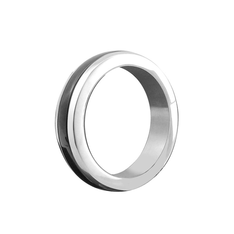 H2H Stainless Steel Cockring w/Black Band 1.75 in.