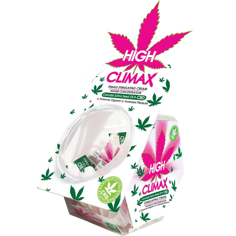 High Climax Female Stimulant with Hemp Seed Oil Stick Pack Display (50 piece bowl display)